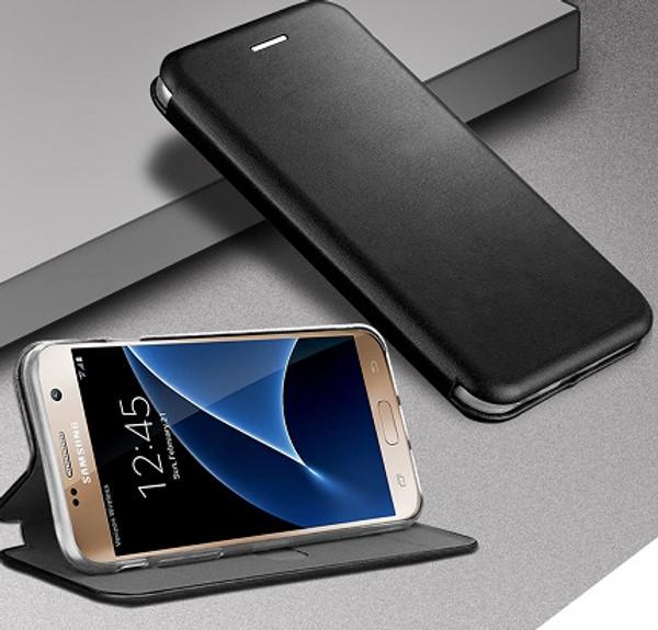 Samsung Galaxy S7 Edge Black Smart Luxury Leather Wallet Case