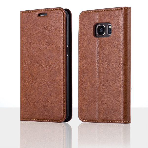 Samsung Galaxy S7 Edge Brown Ultra Slim Leather Wallet stand Case
