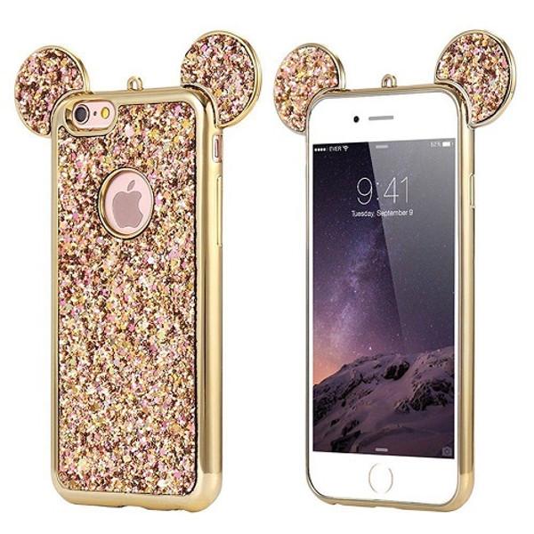 Samsung Galaxy S7 Edge Gold Glitter Bling Cute Mickey Ear Phone Case