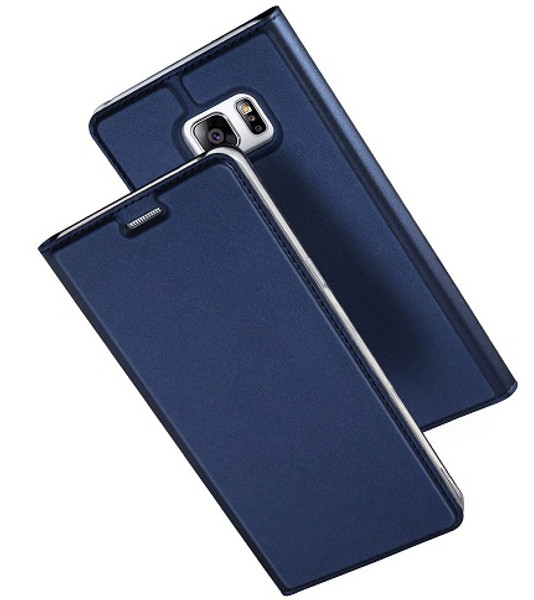 Samsung Galaxy S7 Edge Luxury Ultra Thin Leather Flip Card Holder Case- Blue