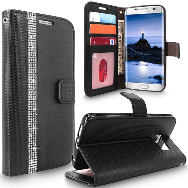Samsung Galaxy S7 Edge Magnetic Wallet Black Case