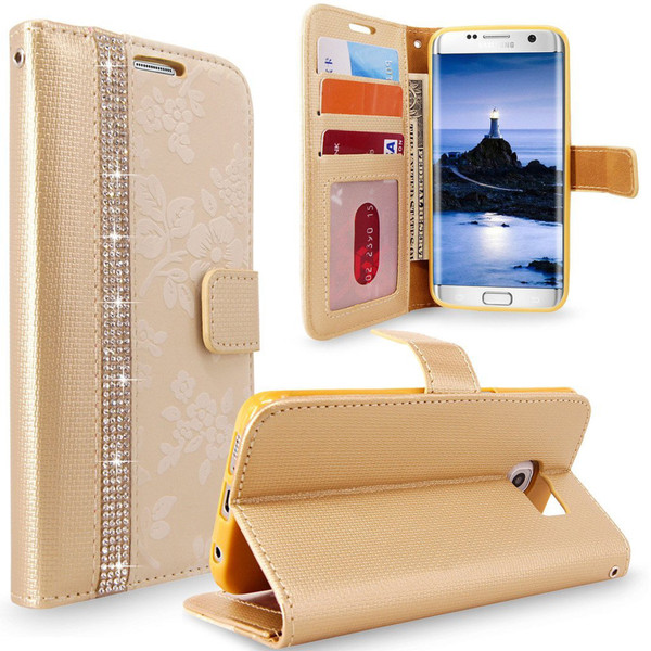 Samsung Galaxy S7 Edge Magnetic Wallet Gold Case