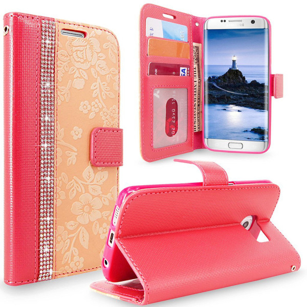 Samsung Galaxy S7 Edge Magnetic Wallet Pink Case