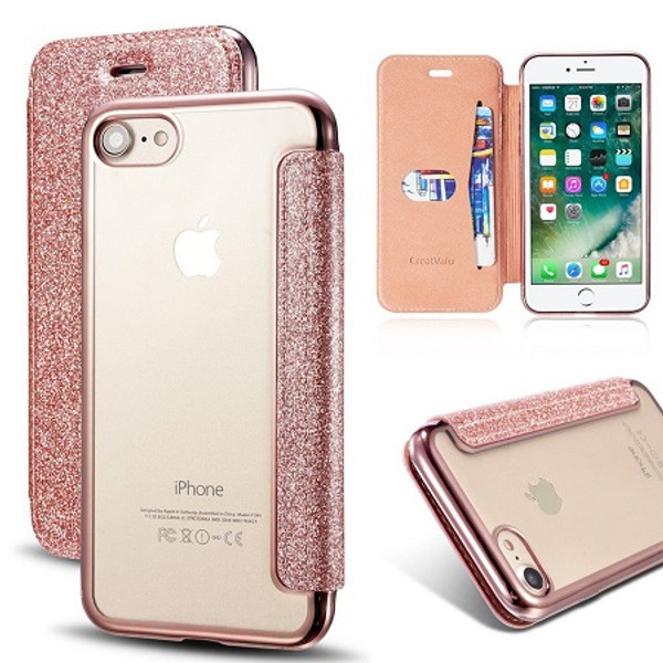 Samsung Galaxy S7 Edge Rose Gold Glitter Clear Back Leather Wallet Case