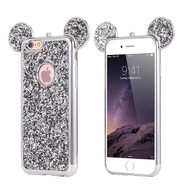Samsung Galaxy S7 Edge Silver Glitter Bling Cute Mickey Ear Phone Case