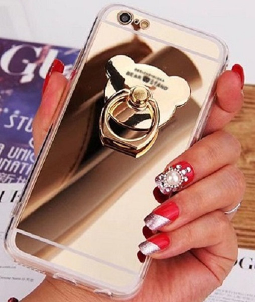 Samsung Galaxy S8  Gold  3D Bear Ring Holder Mirror Stand Case
