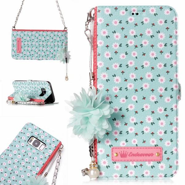 Samsung Galaxy S8  Leather Magnetic Handbag Purse Card Stand Daisy Case