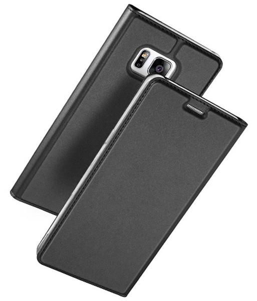 Samsung Galaxy S8  Luxury Ultra Thin Leather Flip Card Holder Case- Black