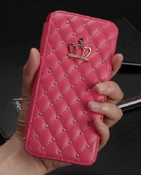 Samsung Galaxy S8 Bling Pu Leather  Pink Diamond Case