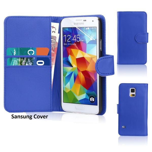 Samsung Galaxy S8 Leather Flip Wallet Case Blue