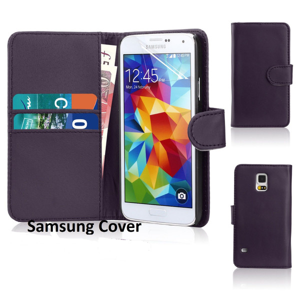 Samsung Galaxy S8 Leather Flip Wallet Case Purple