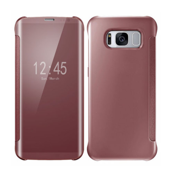 Samsung Galaxy S8 Mirror Smart View Clear Flip Phone Cover - Rose Gold