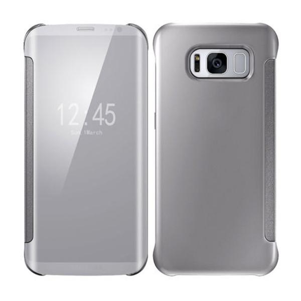 Samsung Galaxy S8 Mirror Smart View Clear Flip Phone Cover - Silver