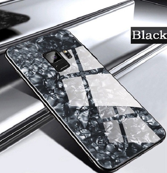 Samsung Galaxy S8 Plus Black Magnetic Absorption Marble Glass Case