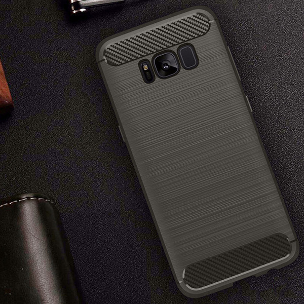 Samsung galaxy S8 Plus Flexible Silicone interior rugged Case Grey