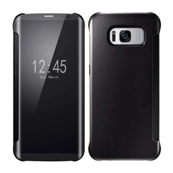 Samsung Galaxy S8 Plus Mirror Smart View Clear Flip Phone Cover -  Black