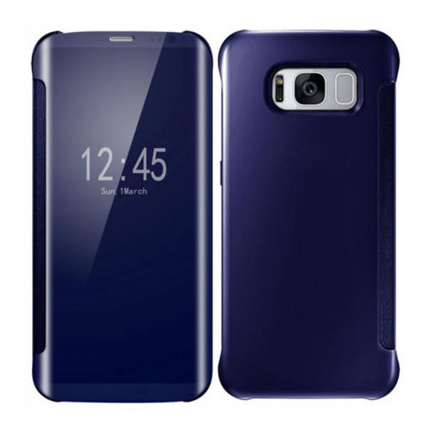 Samsung Galaxy S8 Plus Mirror Smart View Clear Flip Phone Cover -  Blue