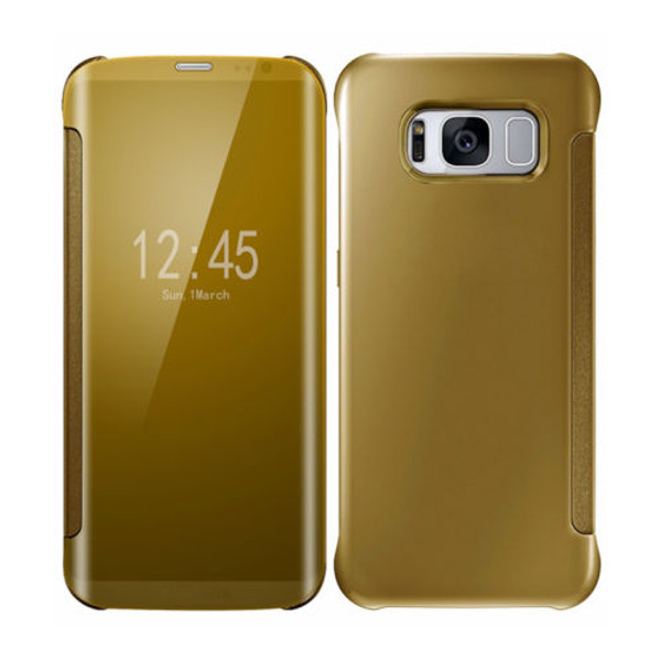 Samsung Galaxy S8 Plus Mirror Smart View Clear Flip Phone Cover -  Gold
