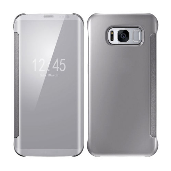 Samsung Galaxy S8 Plus Mirror Smart View Clear Flip Phone Cover - Silver