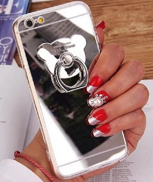 Samsung Galaxy S8 Plus Silver Lovely 3D Bear Ring Holder Slim TPU Mirror Stand Case