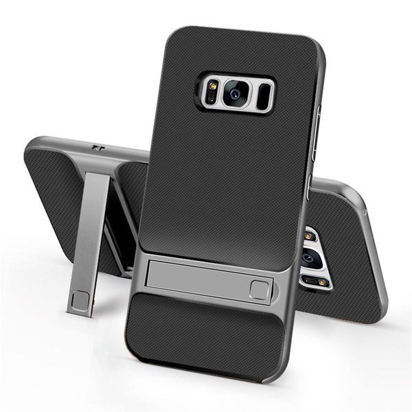 Samsung Galaxy S8 Plus TPU Shockproof Stand Back Case Grey