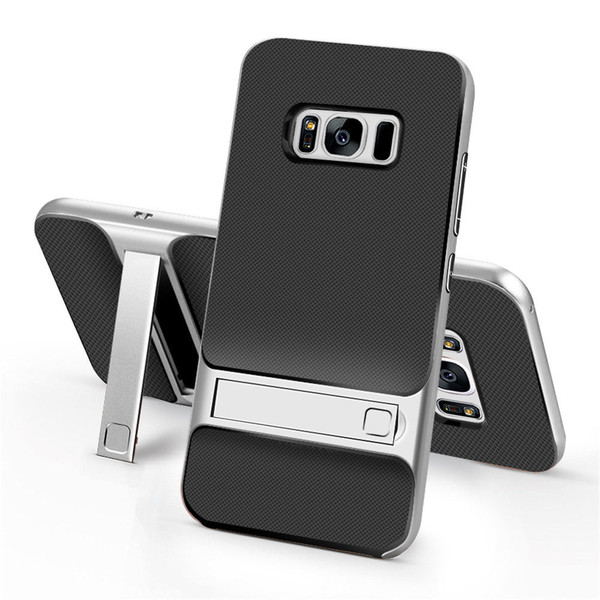 Samsung Galaxy S8 Plus TPU Shockproof Stand Back Case Silver