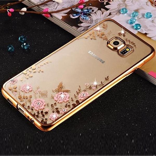 Samsung Galaxy S8 Shockproof Gel Bling Pink Flower Gold Bumper case