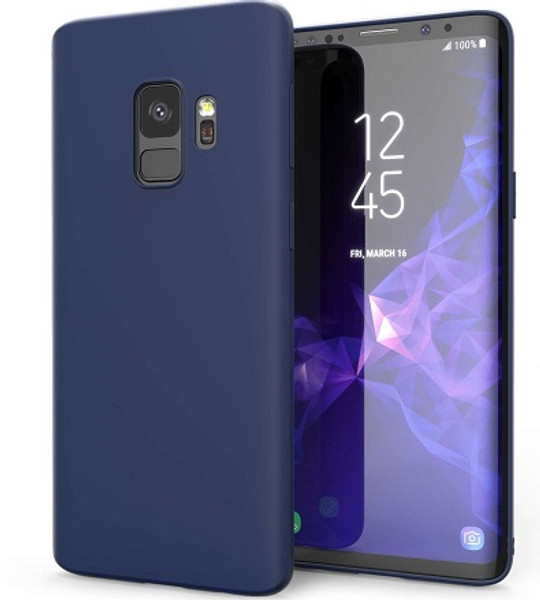 Samsung Galaxy S9  Matte Finish Blue Silicone Ultra Thin Slim Soft Gel cover