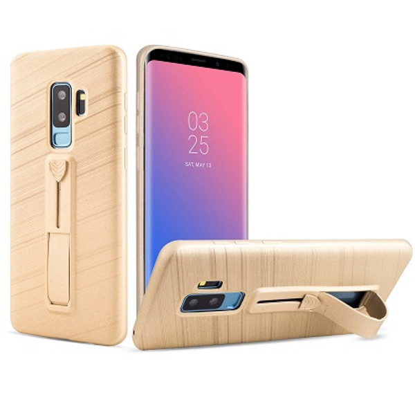 Samsung Galaxy S9 Gold Ultra thin  with Finger Holder/Kick Stand Case
