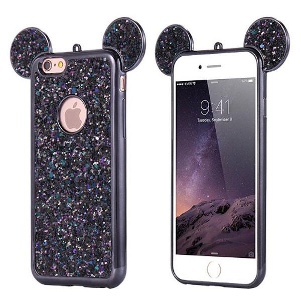 Samsung Galaxy S9 Plus Black Glitter Bling Cute Mickey Ear Phone Case