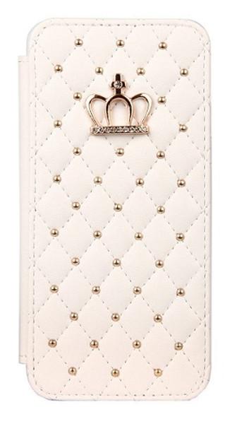 Samsung Galaxy S9 Plus Bling Pu Leather White Diamond Case
