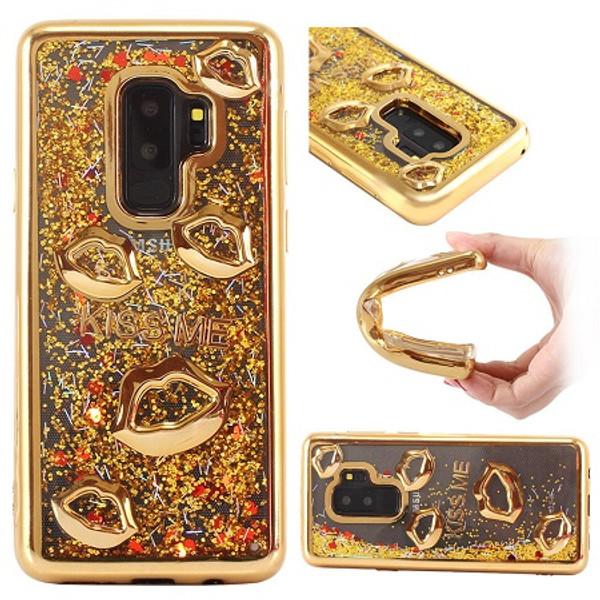 Samsung Galaxy S9 Plus Gold Bling Glitter Quicksand Liquid Soft Case