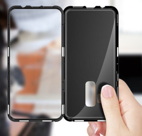 Samsung Galaxy S9 Plus Magnetic Adsorption Metal Bumper Glass Case