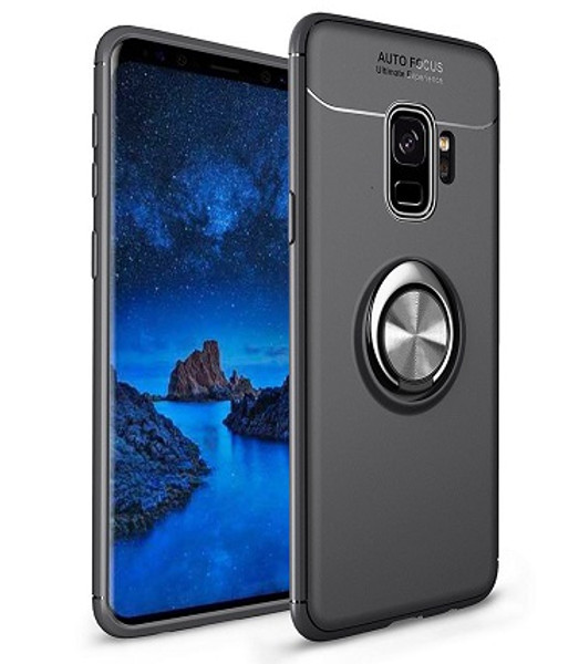 Samsung Galaxy S9 Plus Metal Magnetic With Finger Ring Holder Black Case
