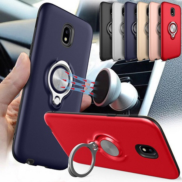 Samsung Galaxy S9 Plus Metal Magnetic With Finger Ring Holder Silver Case