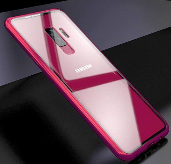 Samsung Galaxy S9 Plus Red Magnetic Adsorption Metal Bumper Glass Case