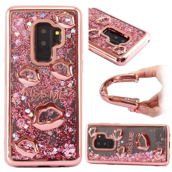 Samsung Galaxy S9 Plus Rose Gold Bling Glitter Quicksand Liquid Soft Case