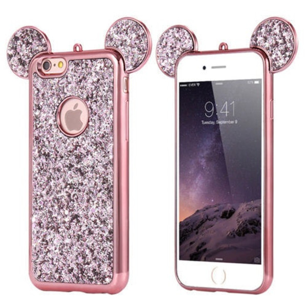 Samsung Galaxy S9 Plus Rose Gold Glitter Bling Cute Mickey Ear Phone Case