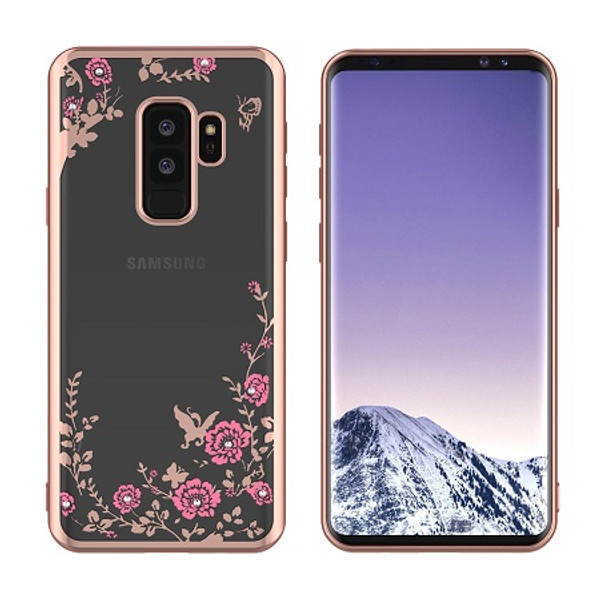 Samsung Galaxy S9 Plus Shockproof Gel Bling Pink Flower Rose Gold Bumper case