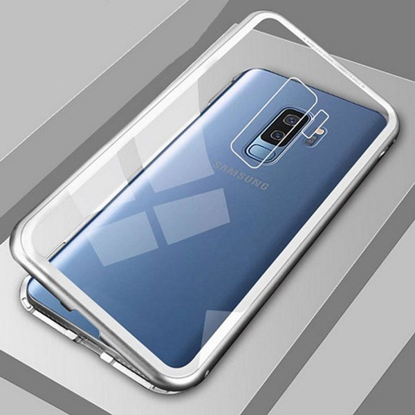 Samsung Galaxy S9 Plus Silver Magnetic Adsorption Metal Bumper Glass Case