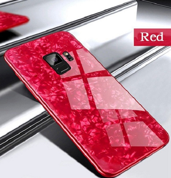 Samsung Galaxy S9 Red Magnetic Absorption Marble Glass Case