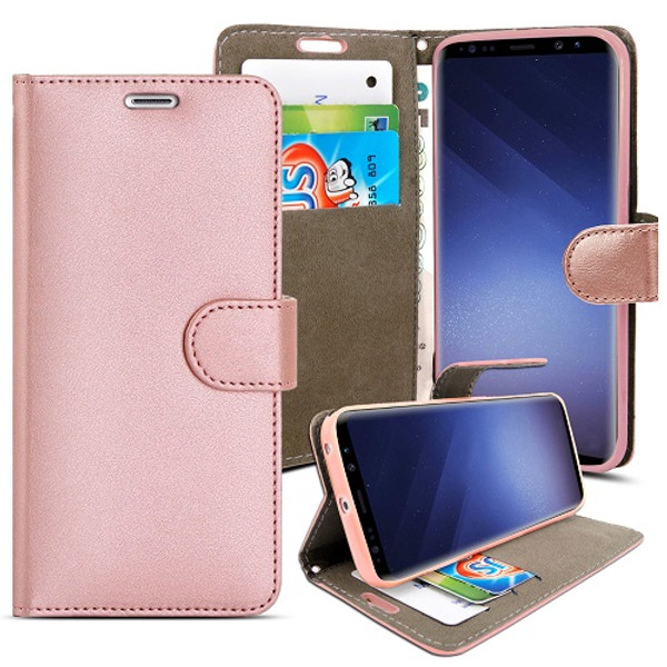 Samsung Galaxy S9 Rose Gold pu leather wallet case
