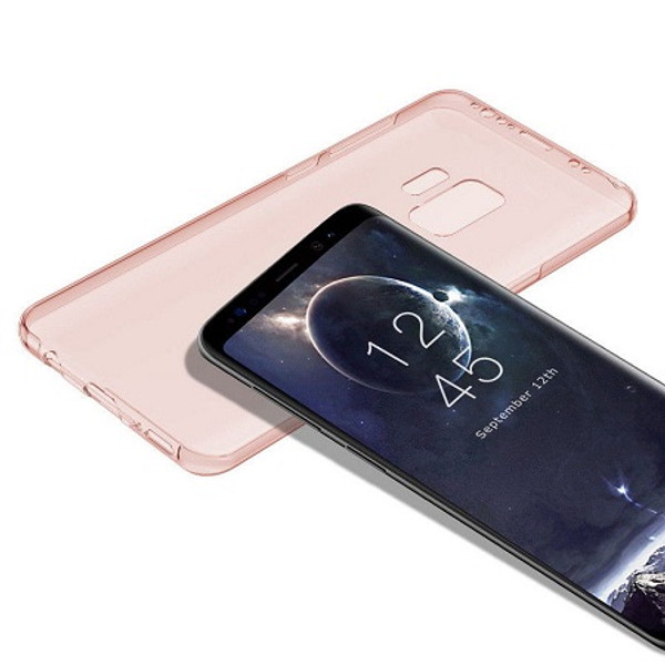Samsung Galaxy S9 Shockproof 360 Protective Silicone Gel Rose Gold Case