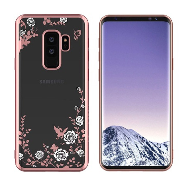 Samsung Galaxy S9 Shockproof Gel Bling White Flower  Rose Gold Bumper case