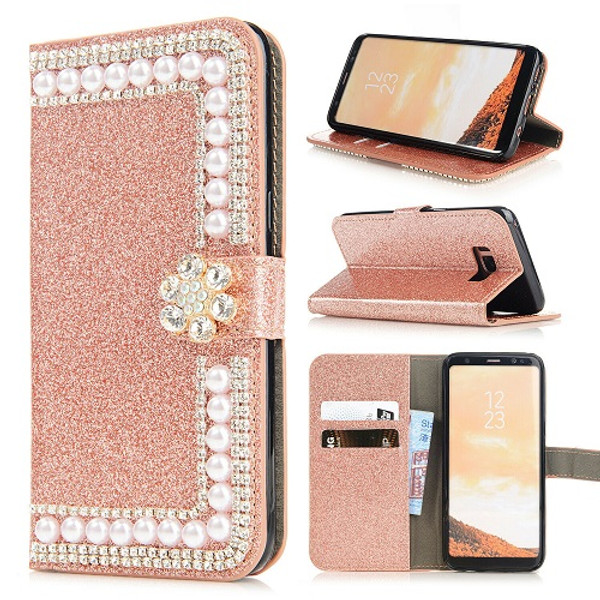 Samsung S10 Plus Rose Gold Glitter Leather Wallet Stand Magnetic Case