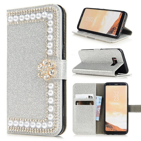 Samsung S10 Silver Glitter Leather Wallet Stand Magnetic Case