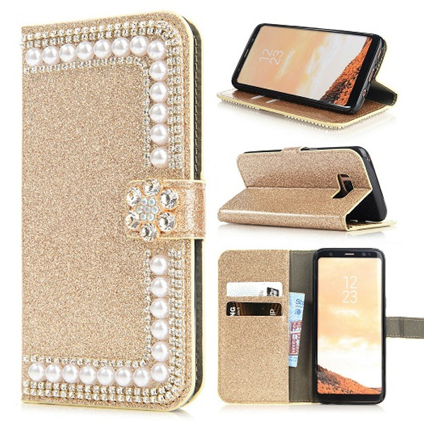 Samsung S10e Gold Glitter Leather Wallet Stand Magnetic Case