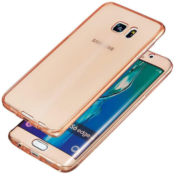 Samsung S6 Edge Shockproof 360° Silicone  Soft  Case Cover - Rose Gold