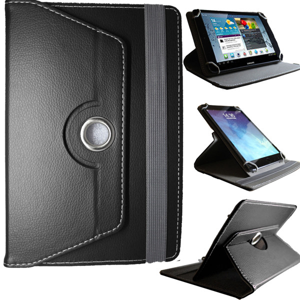 Universal PU Black Leather Stand Folio 360° Case For Nook HD 7inch
