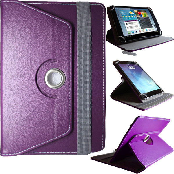 Universal PU Purple Leather Stand Folio 360° Case For Nook HD 7inch